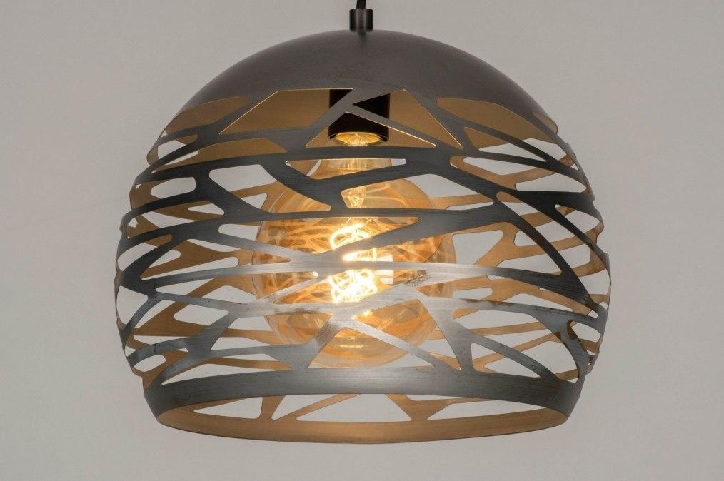 Pendant light 73258: modern, raw, metal, steel gray #0