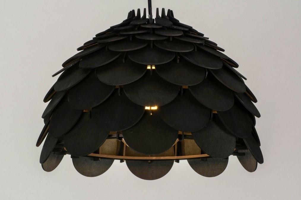 Hanglamp 73317: modern, hout, zwart, mat #0