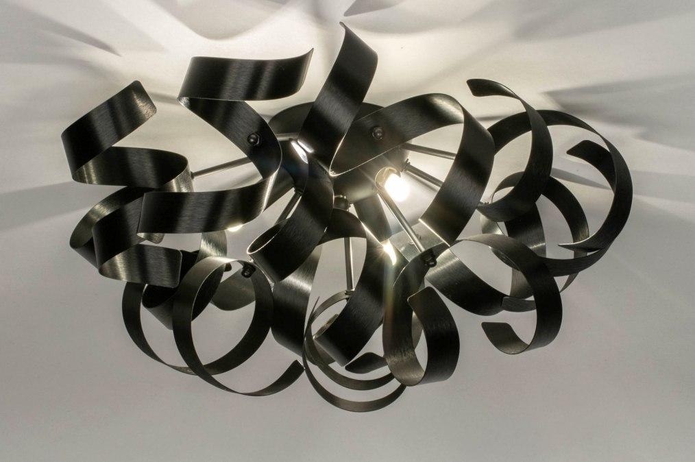 Plafondlamp 73337: modern, aluminium, geschuurd aluminium, metaal #0