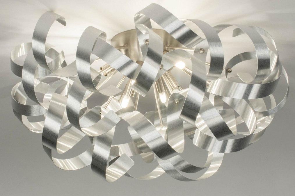 Plafondlamp 73338: modern, aluminium, geschuurd aluminium, metaal #0
