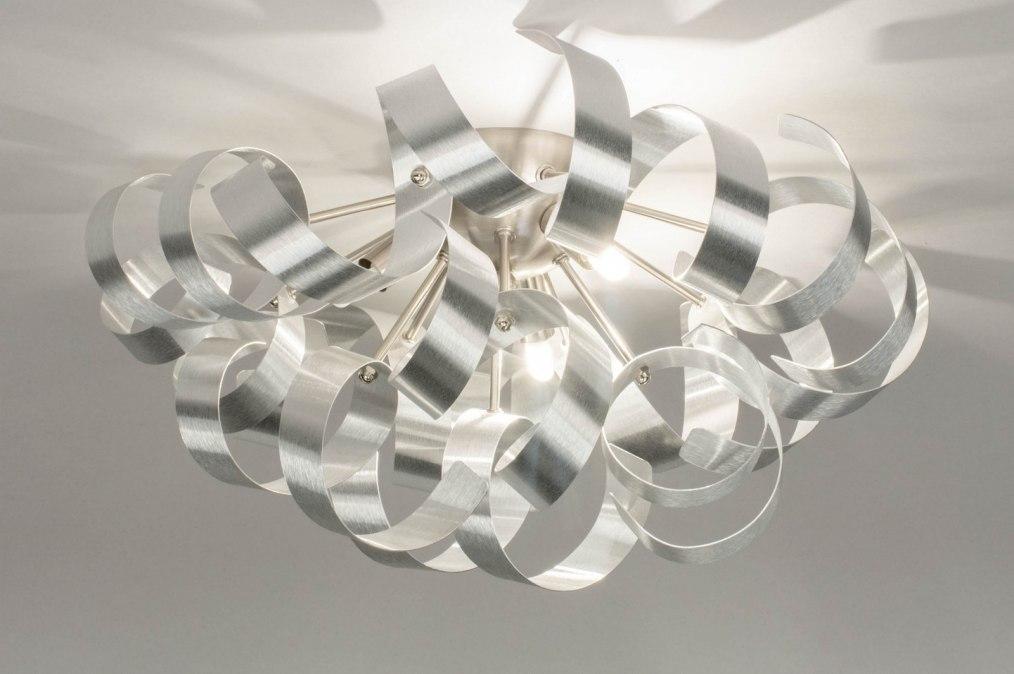 Plafondlamp 73340: modern, aluminium, geschuurd aluminium, metaal #0
