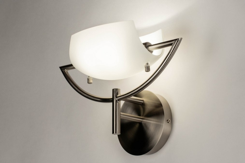 Wall lamp 73361: modern, glass, white opal glass, stainless steel #0