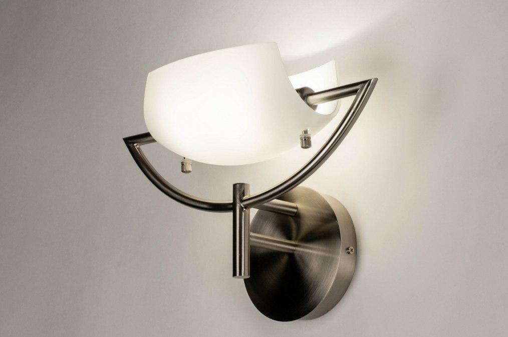 Wandlamp 73361: modern, glas, wit opaalglas, staal rvs #0