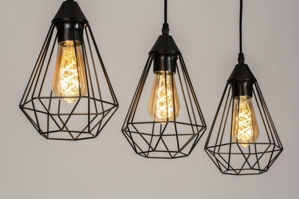 Pendant light 73409: modern, metal, black, oblong #0