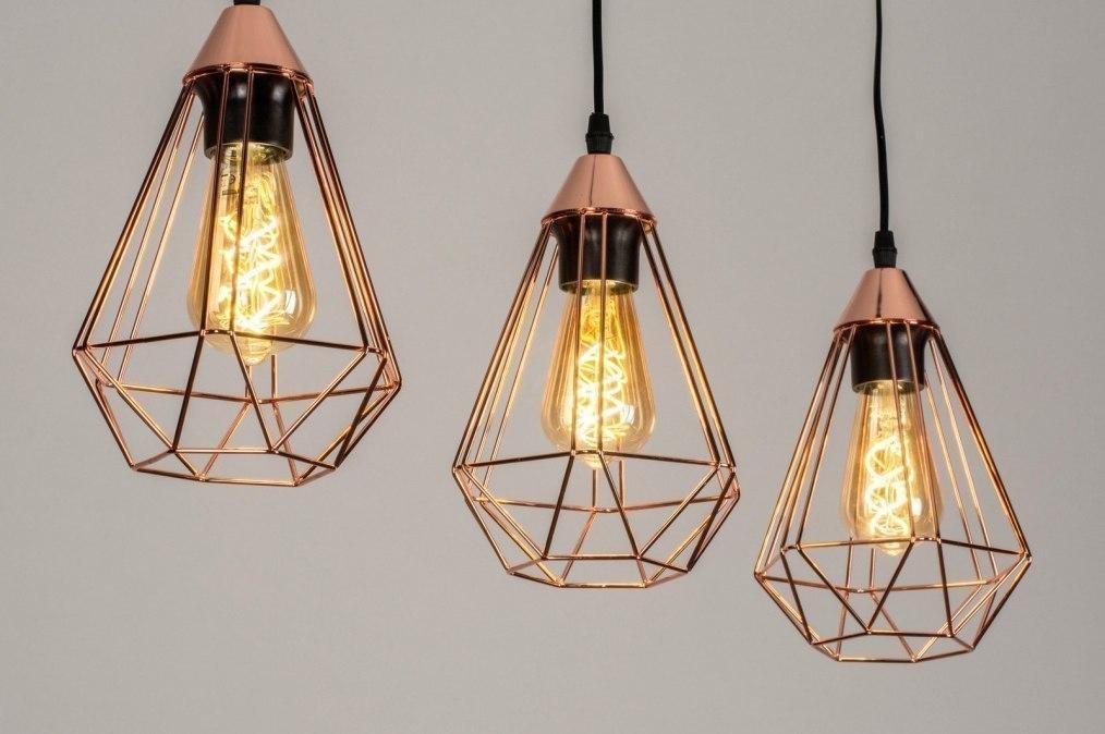Hanglamp 73410: modern, eigentijds klassiek, metaal, koper #0