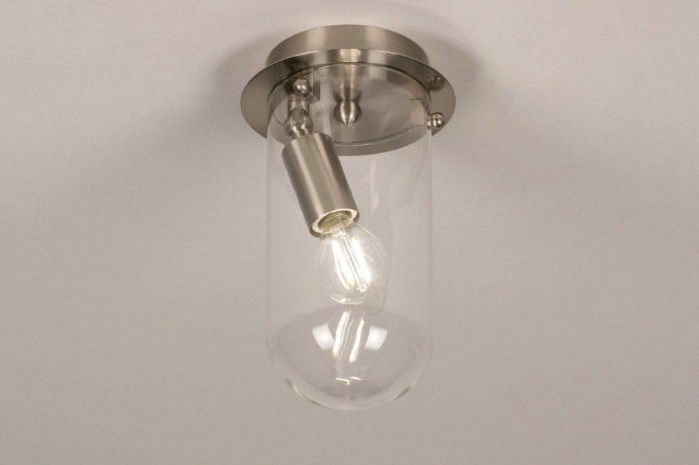 Ceiling lamp 73411: modern, glass, clear glass, stainless steel #0
