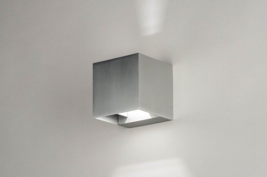 Wall lamp 73441: modern, aluminium, sanded aluminium, metal #0