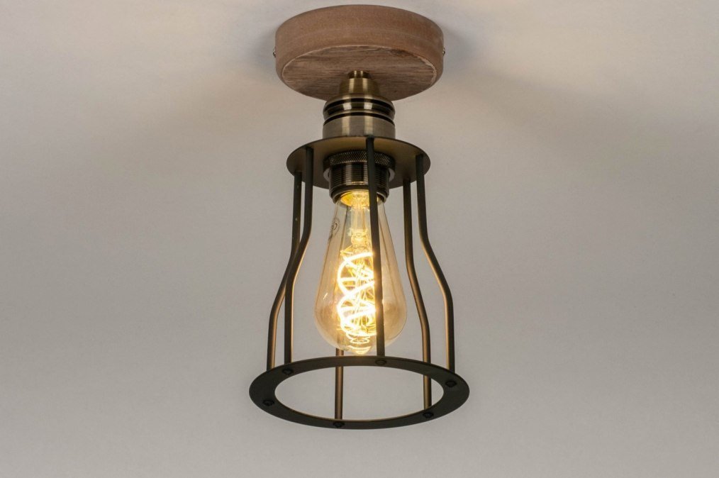 Ceiling lamp 73494: industrial look, rustic, modern, wood #0