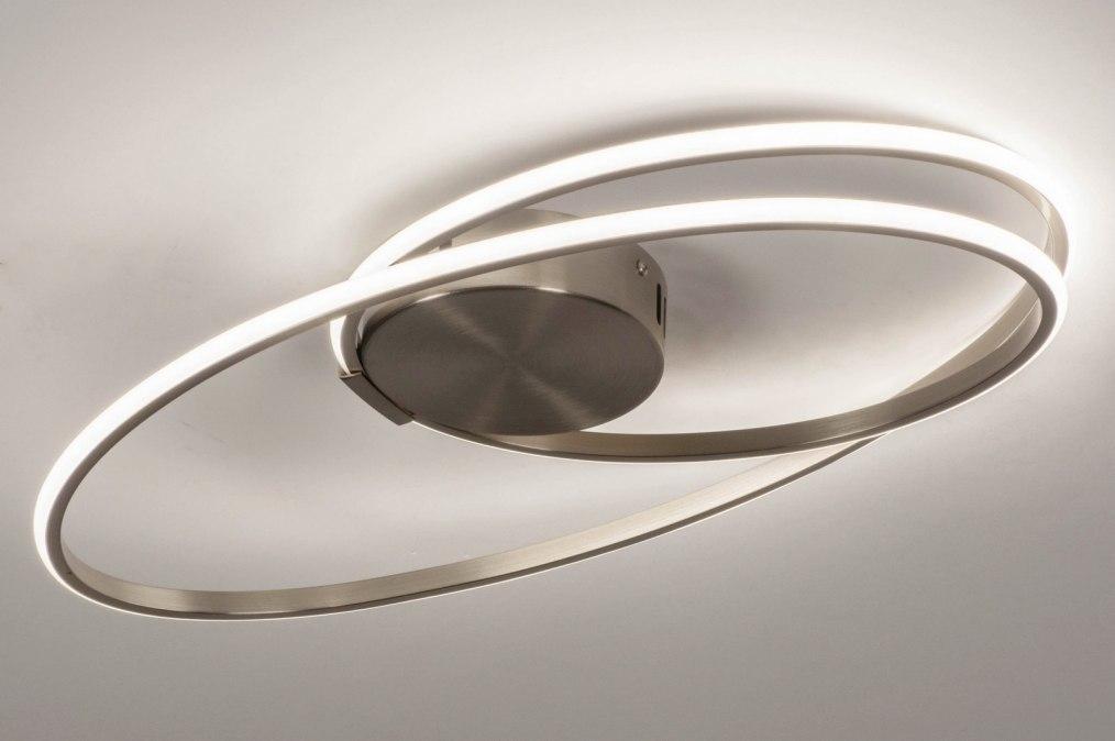 Plafondlamp 73530: modern, staal rvs, metaal, staalgrijs #0