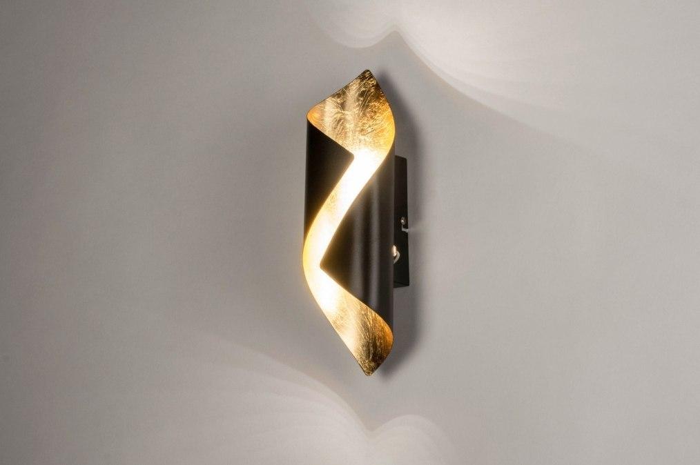 Wandlamp 73541: modern, metaal, zwart, goud #0