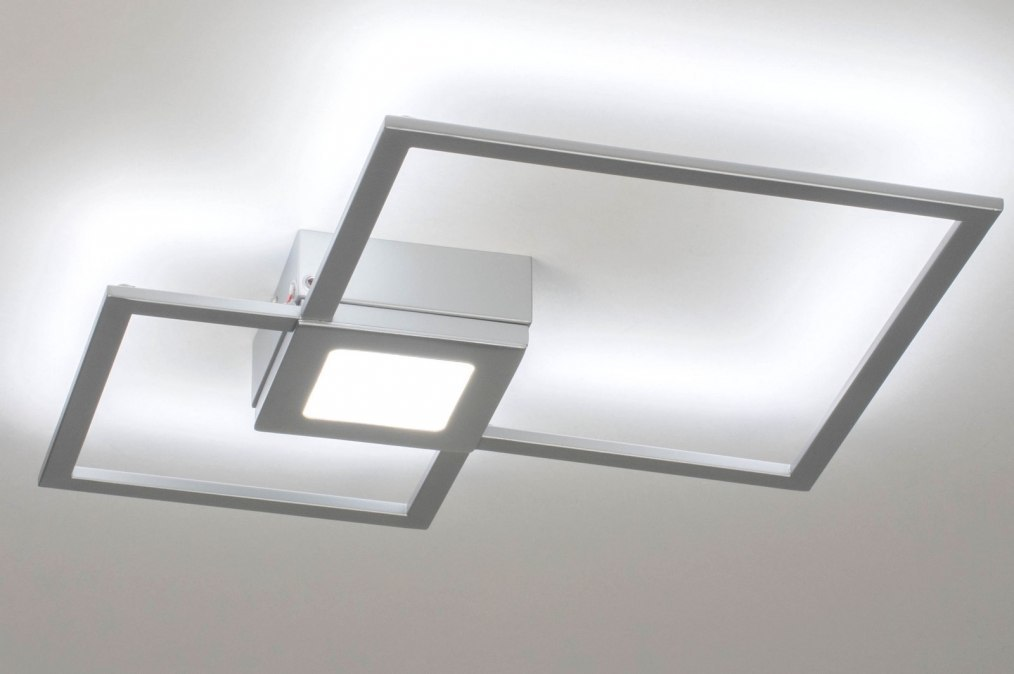 Plafondlamp 73549: modern, metaal, zilvergrijs, vierkant #0