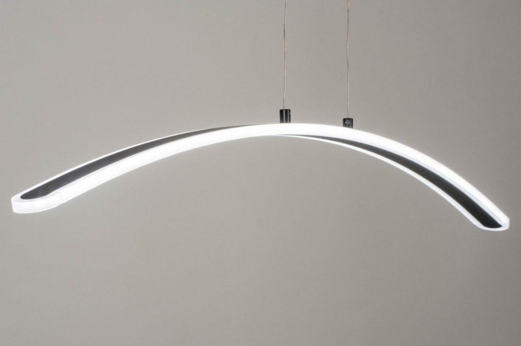 Hanglamp 73566: modern, aluminium, geschuurd aluminium, zwart #0