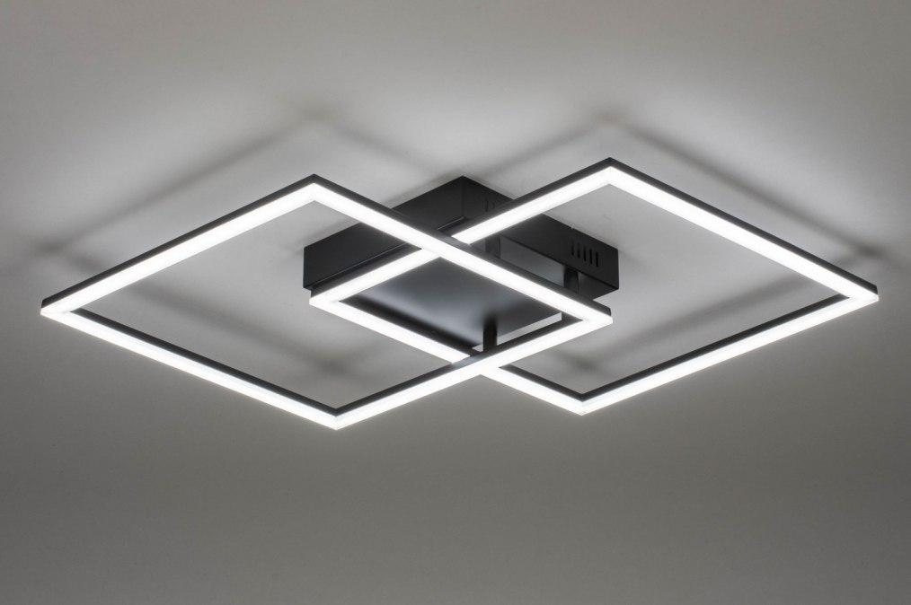 Plafondlamp 73569: modern, metaal, zwart, mat #0