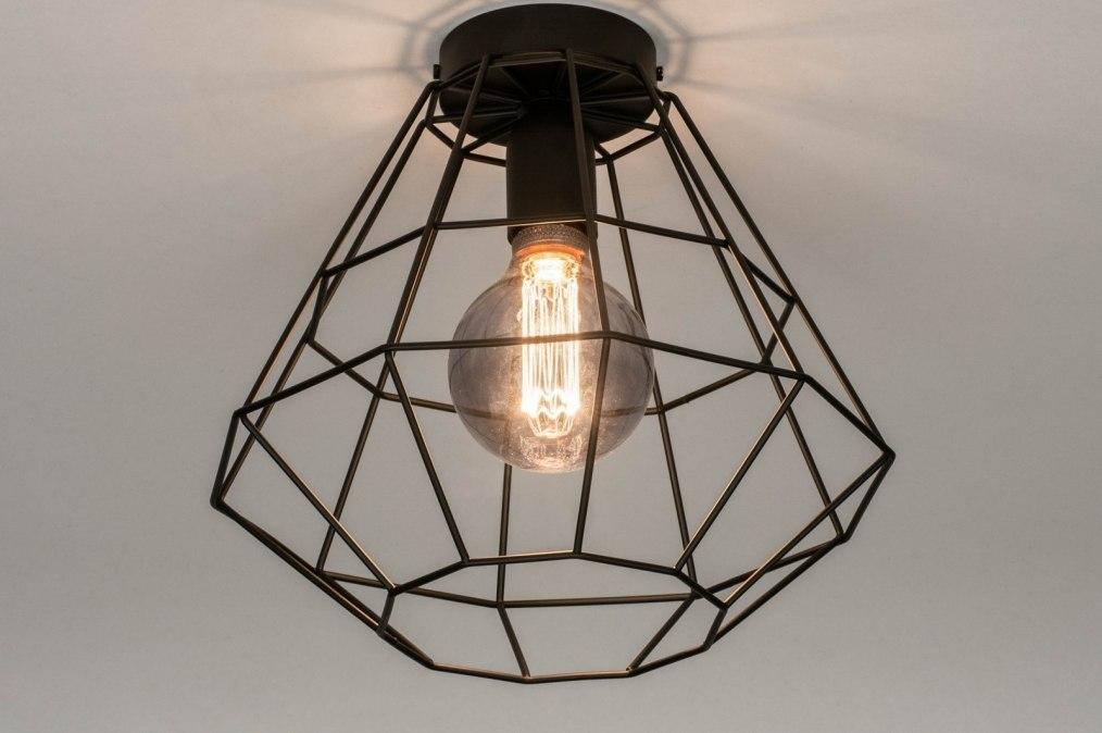Plafondlamp 73633: modern, retro, metaal, zwart #0