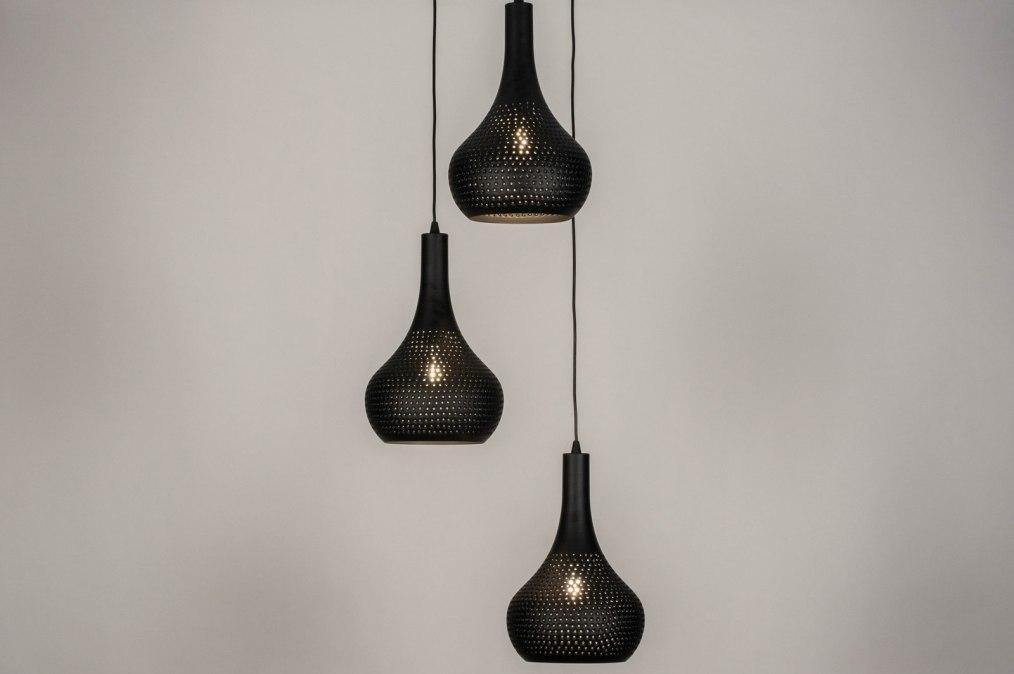 Hanglamp 73662: modern, eigentijds klassiek, metaal, zwart #0