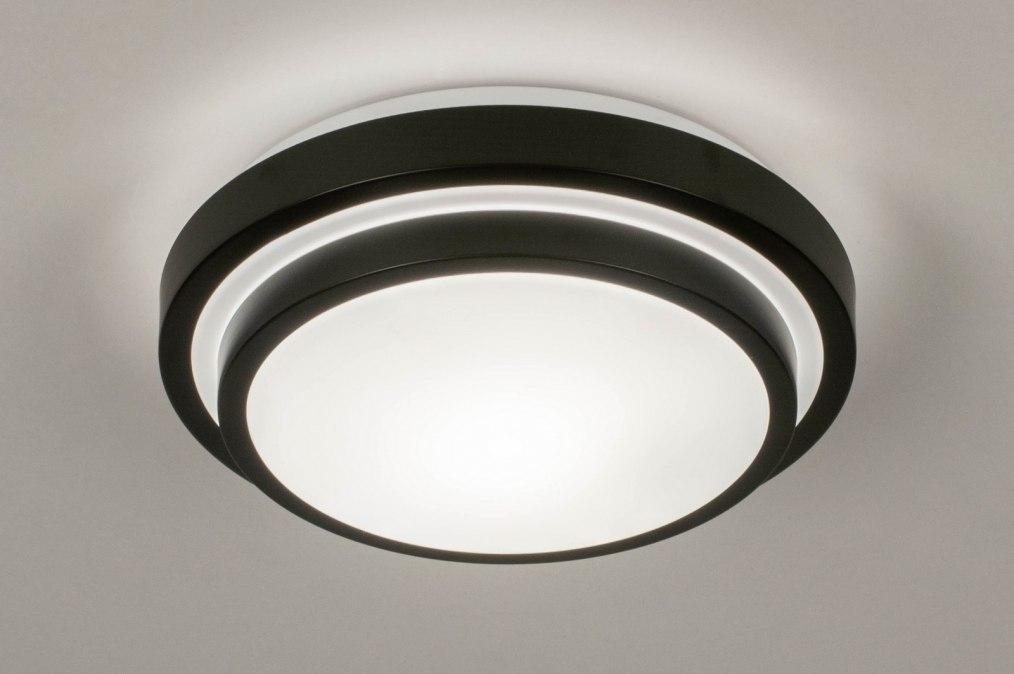 Plafondlamp 73676: modern, kunststof, metaal, zwart #0