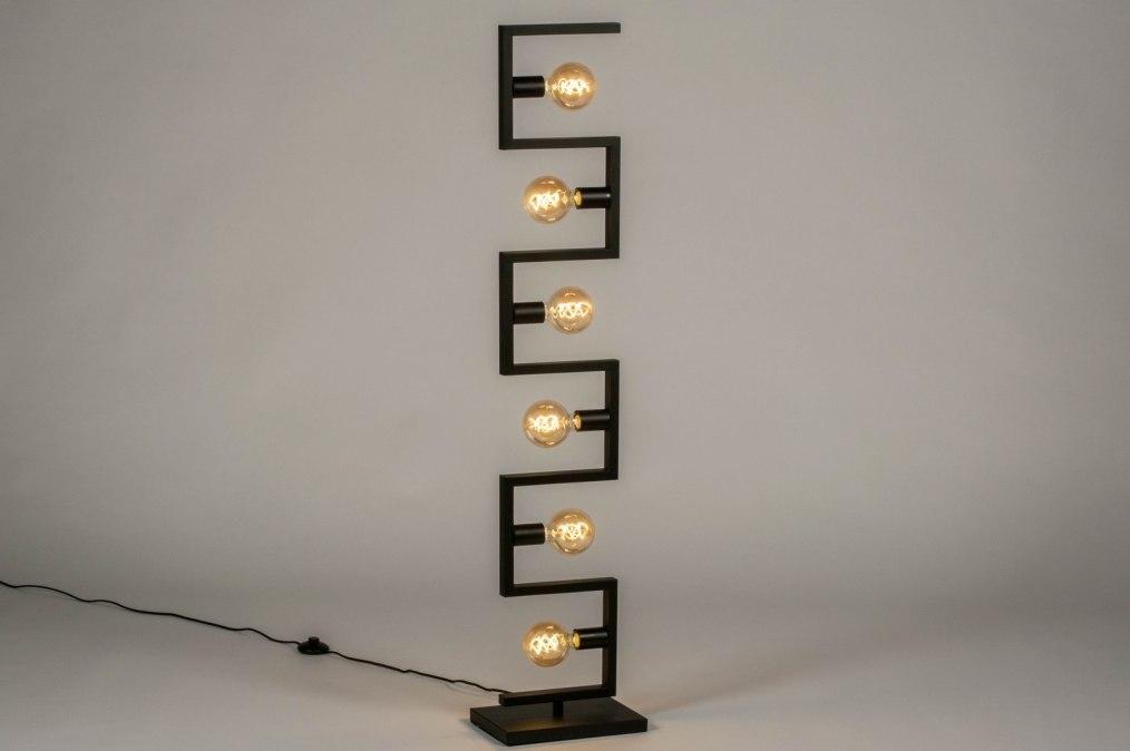 Lampadaire 73699: look industriel, moderne, acier, noir #0