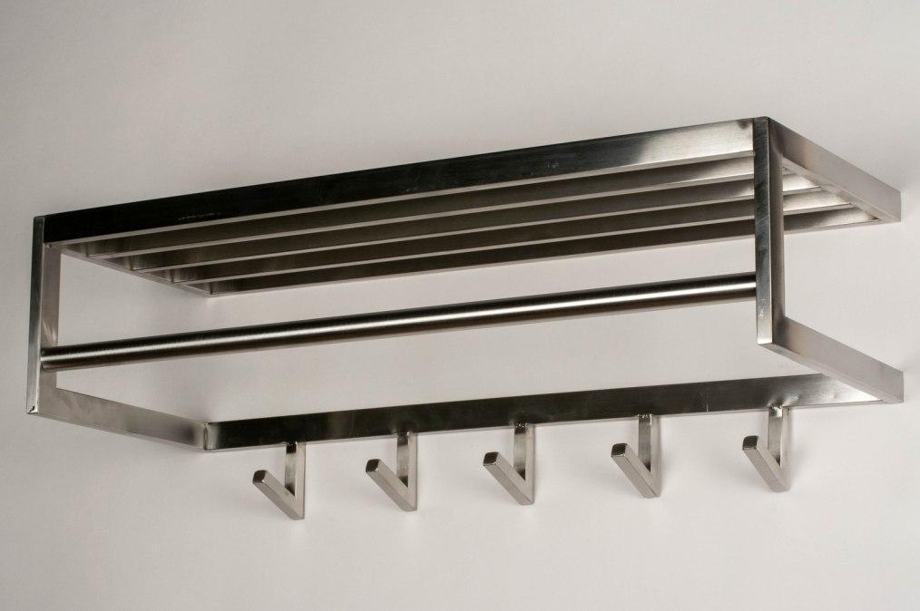 Kapstok 73703: modern, staal rvs, staalgrijs, langwerpig #0