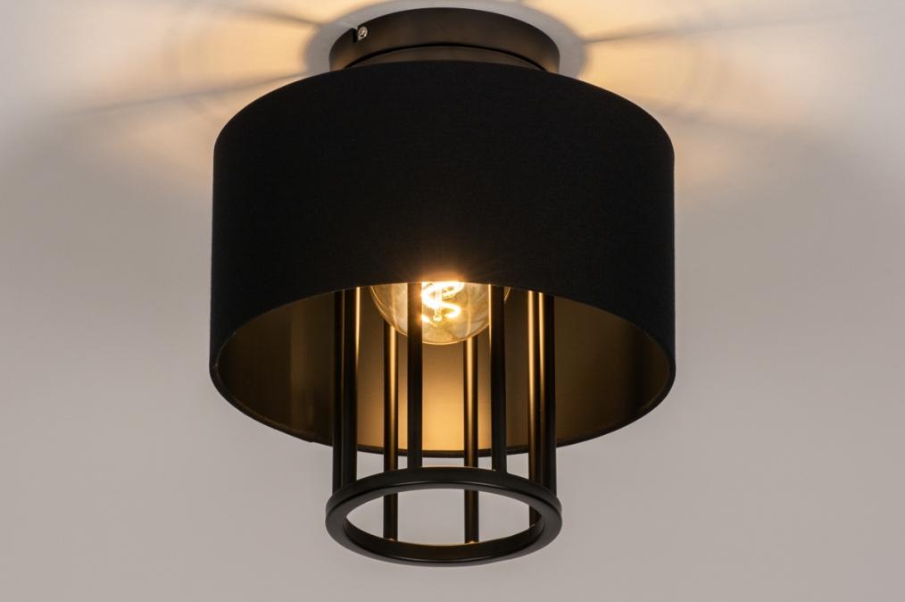 Plafondlamp 73725: sale, stof, metaal, zwart #0