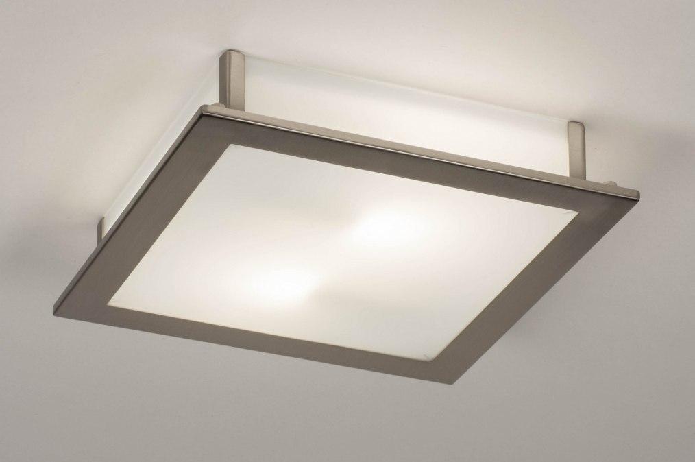 Plafondlamp 73761: modern, glas, wit opaalglas, staal rvs #0