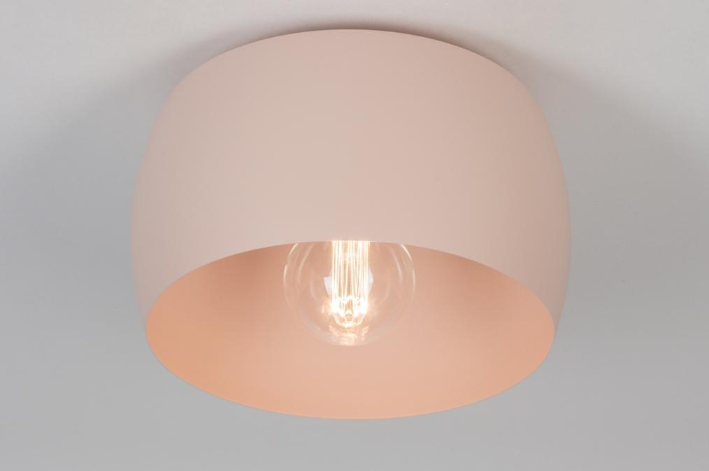 Plafondlamp 73778: modern, metaal, roze, rond #0