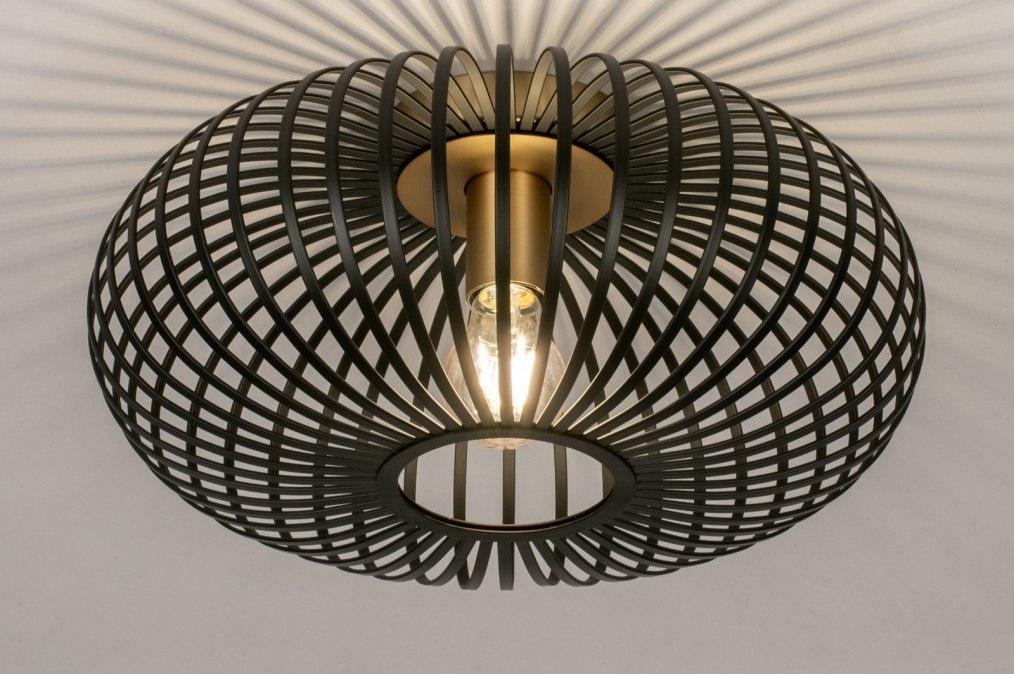 Plafondlamp 73840: modern, retro, metaal, zwart #0