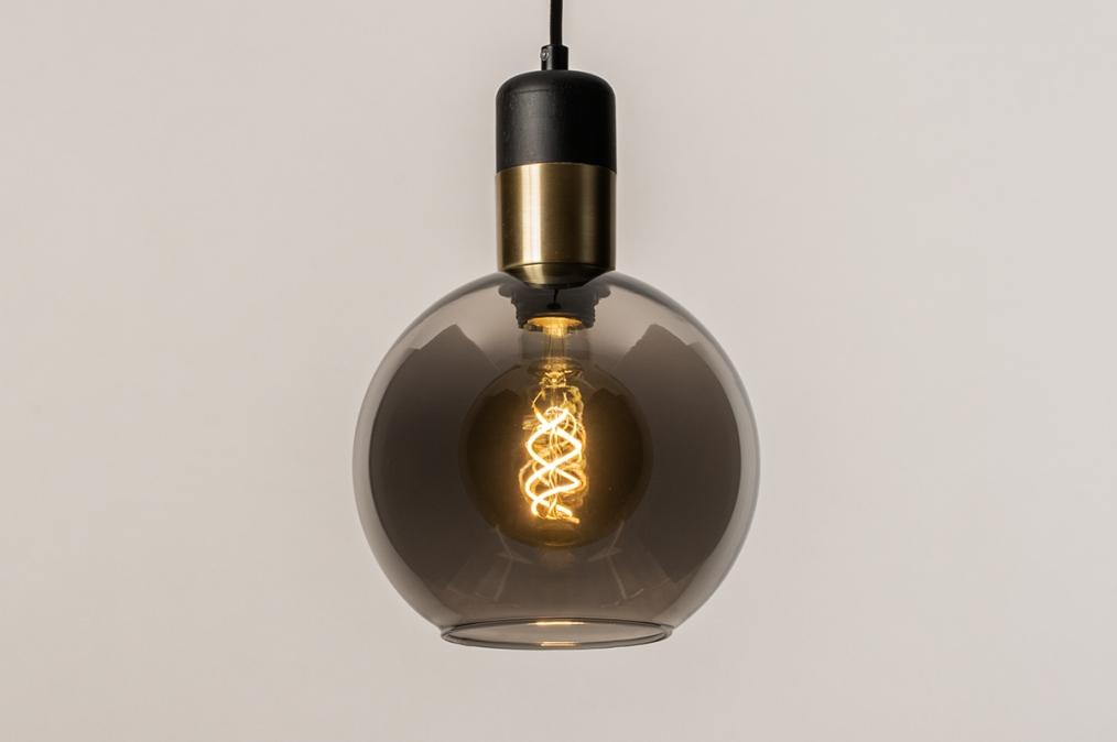 Hanglamp 73849: modern, retro, glas, zwart #0