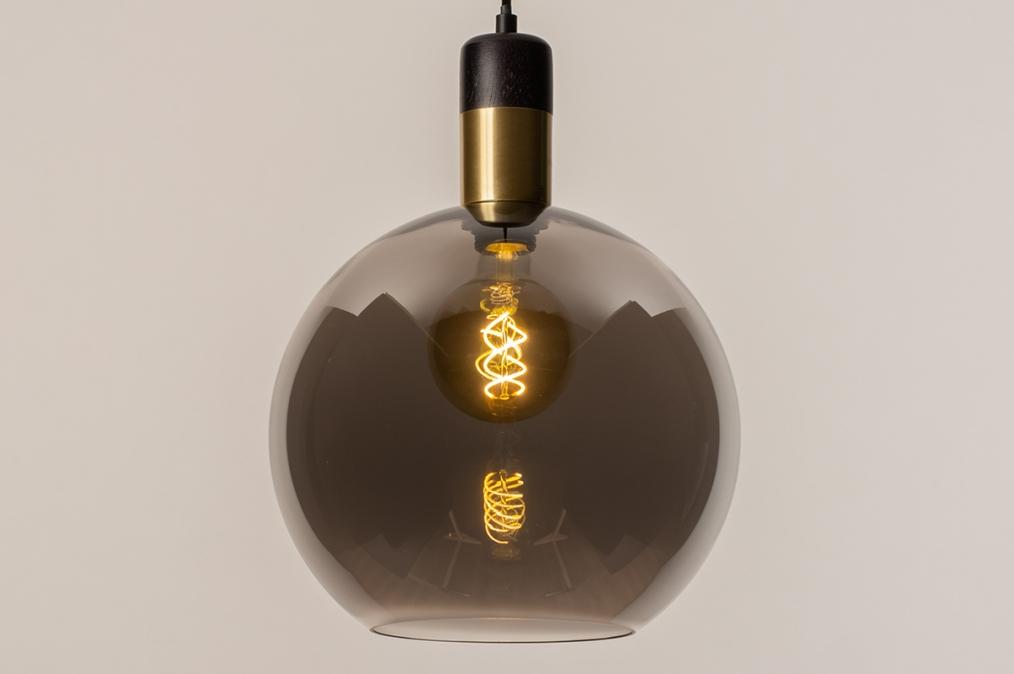 Hanglamp 73850: modern, retro, glas, zwart #0