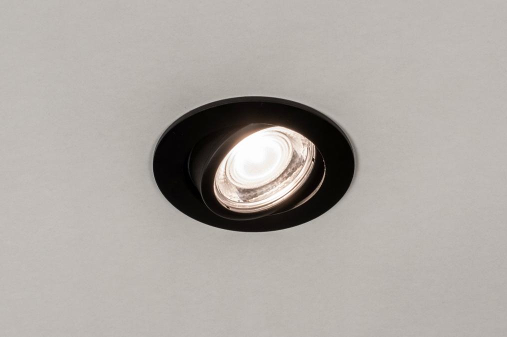 Inbouwspot 73871: modern, aluminium, metaal, zwart #0