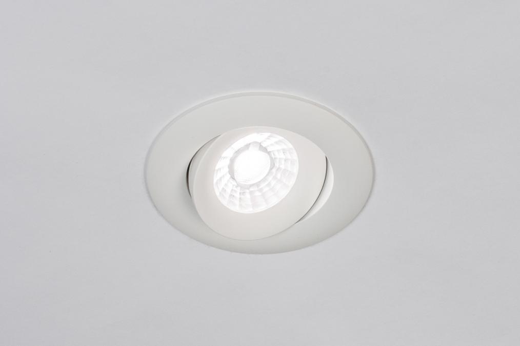 Inbouwspot 73901: design, modern, aluminium, wit #0