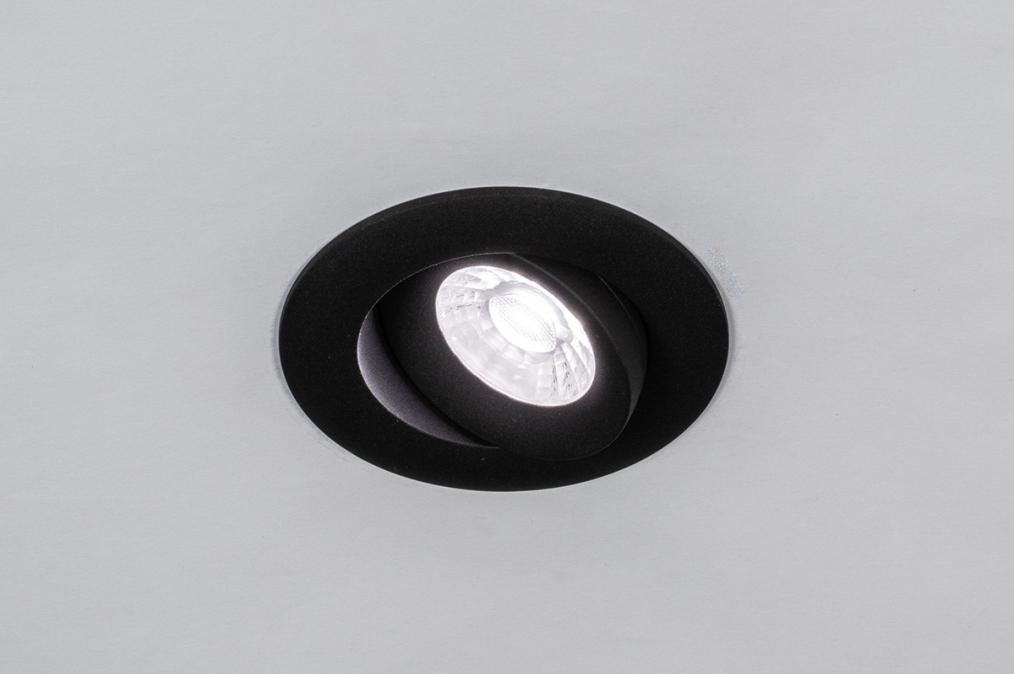 Inbouwspot 73902: design, modern, aluminium, zwart #0
