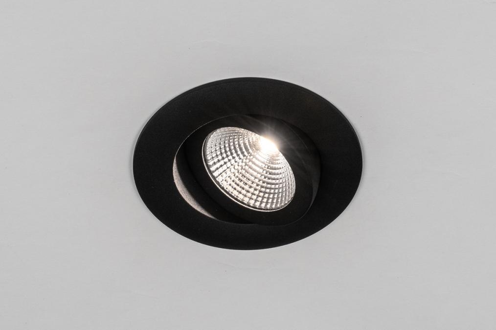 Inbouwspot 73904: design, modern, aluminium, zwart #0