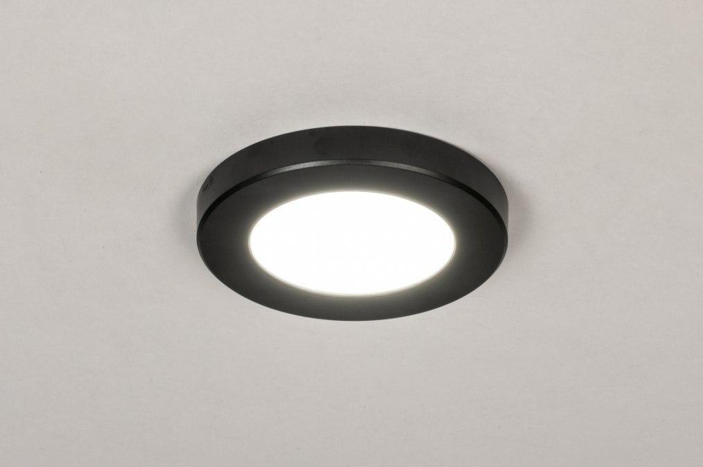 Spot 73931: modern, kunststof, zwart, rond #0