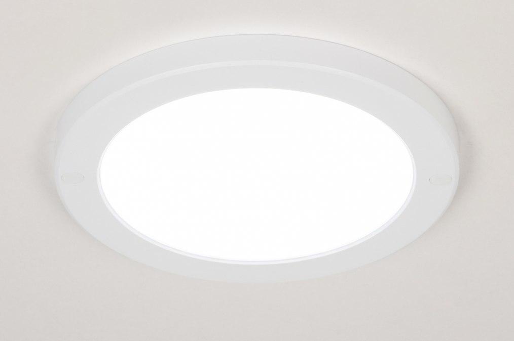 Plafondlamp 73934: modern, kunststof, wit, mat #0