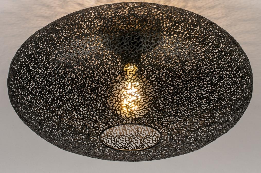 Plafondlamp 73940: modern, eigentijds klassiek, metaal, zwart #0