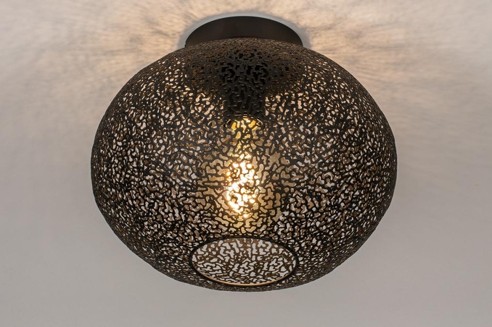 Plafondlamp 73942: modern, eigentijds klassiek, metaal, zwart #0