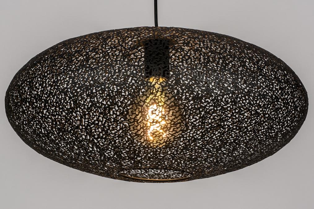 Hanglamp 73944: modern, eigentijds klassiek, metaal, zwart #0