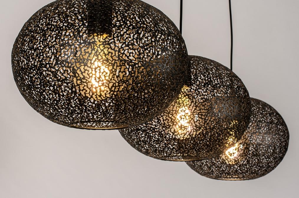 Hanglamp 73948: modern, eigentijds klassiek, metaal, zwart #0