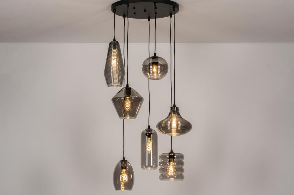 Hanglamp 73958: modern, eigentijds klassiek, glas, metaal #0