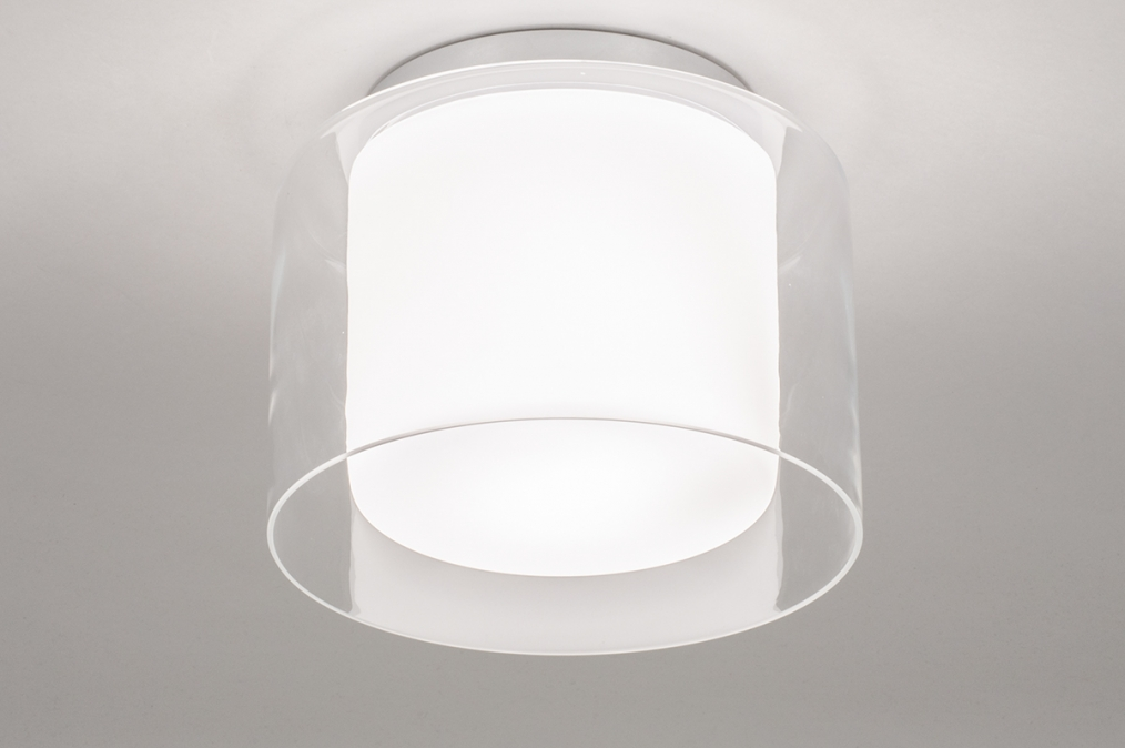 Plafondlamp 73987: modern, retro, glas, wit opaalglas #0