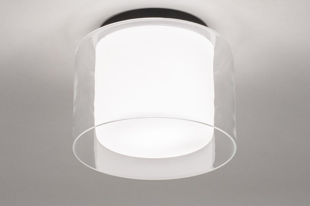 Plafondlamp 73988: modern, retro, glas, wit opaalglas #0