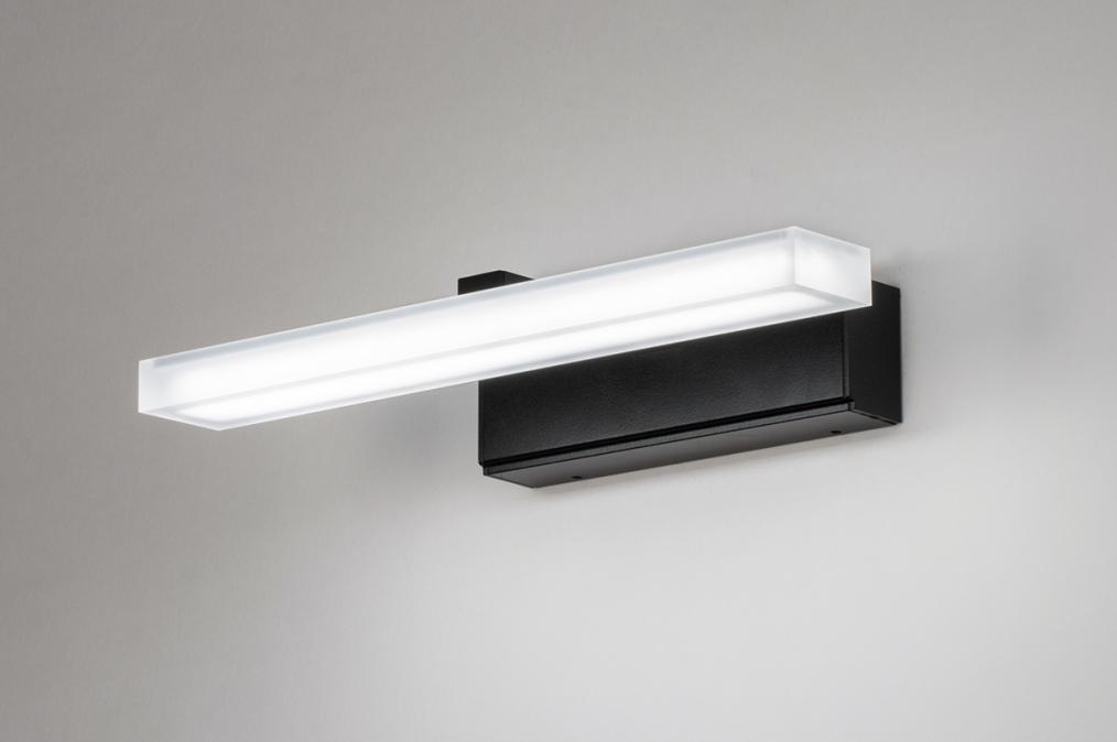 Wandlamp 73993: modern, kunststof, acrylaat kunststofglas, zwart #0