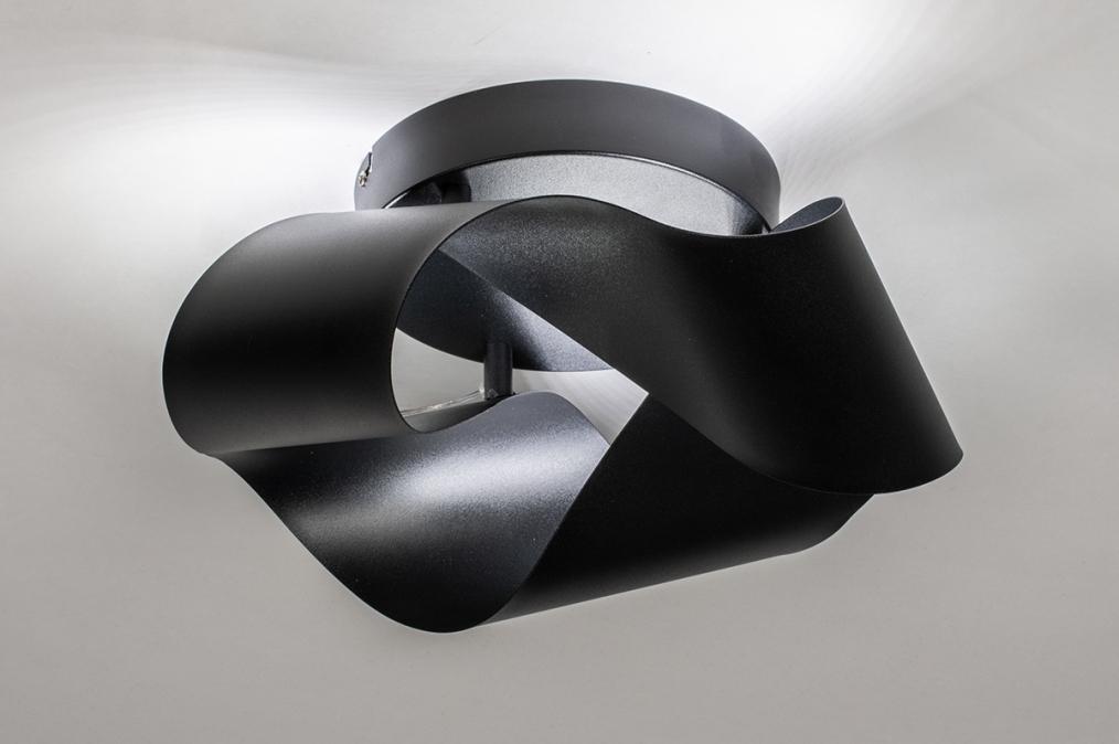 Plafondlamp 74027: modern, retro, metaal, zwart #0