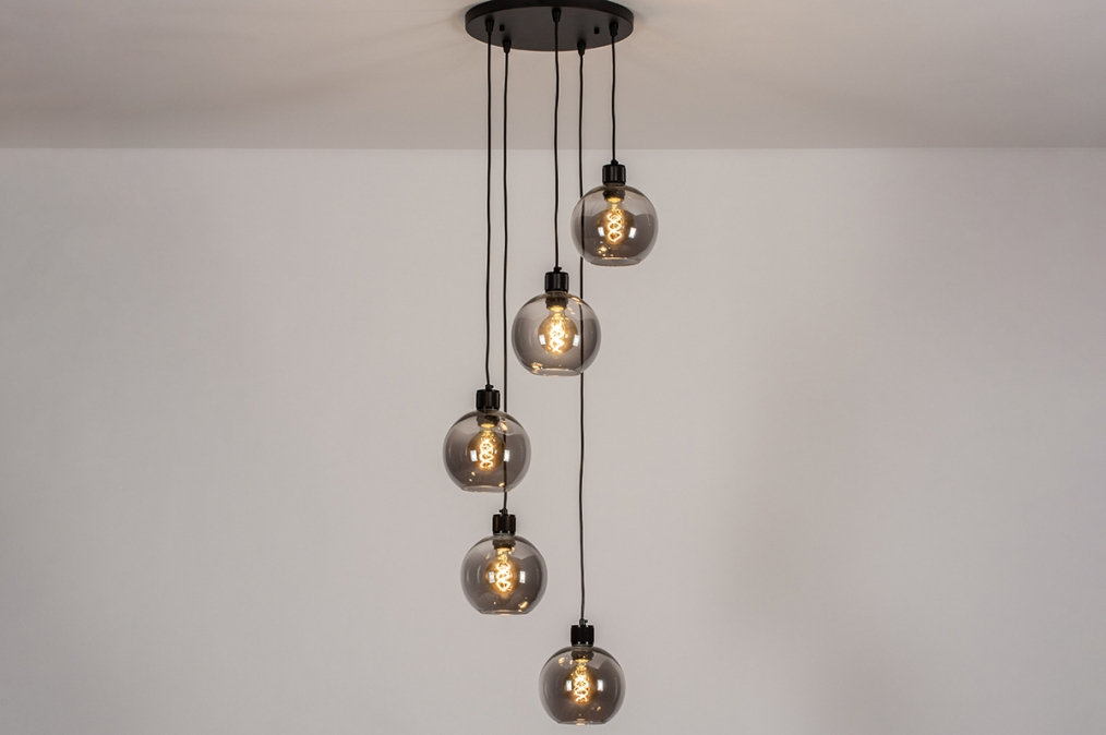 Hanglamp 74039: modern, retro, glas, metaal #0