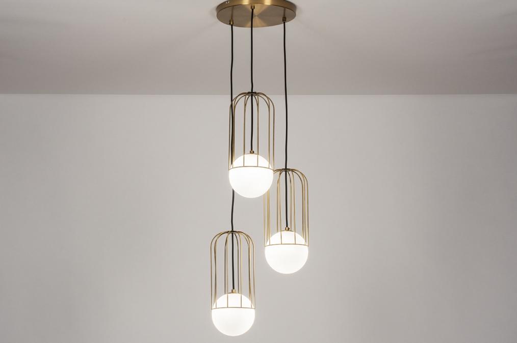 Hanglamp 74046: modern, glas, wit opaalglas, messing #0