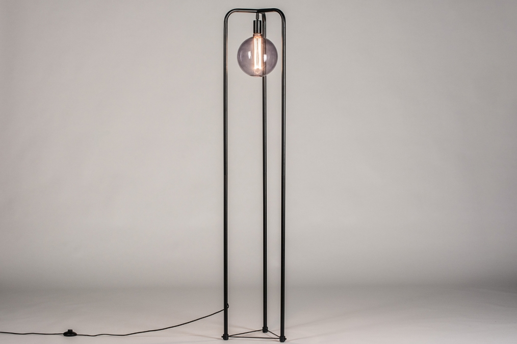 Vloerlamp 74116: design, modern, metaal, zwart #0