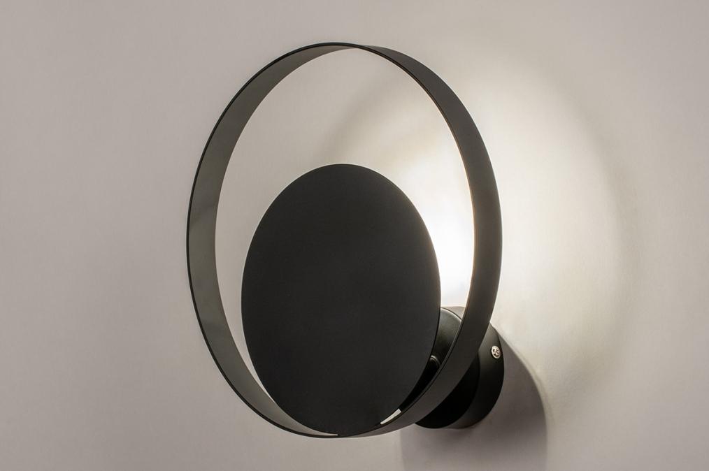 Wandlamp 74133: modern, retro, metaal, zwart #0