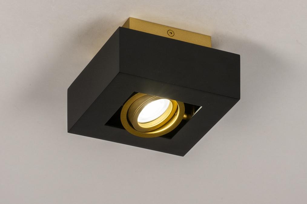 Plafondlamp 74134: design, modern, metaal, zwart #0