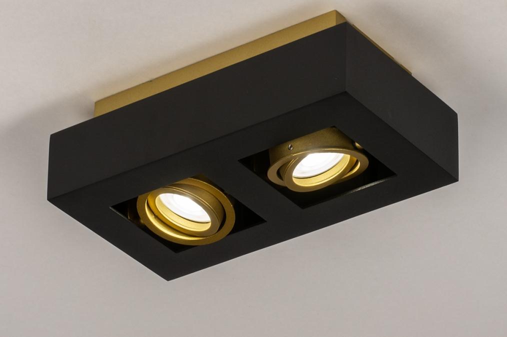 Plafondlamp 74135: design, modern, metaal, zwart #0