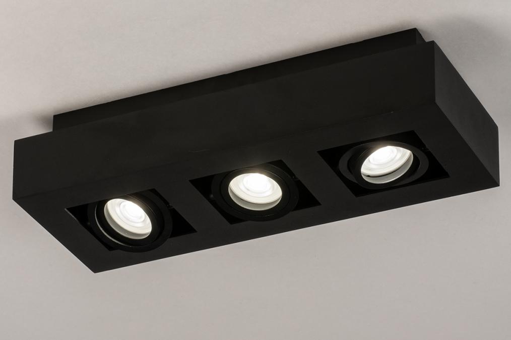 Plafondlamp 74136: design, modern, metaal, zwart #0